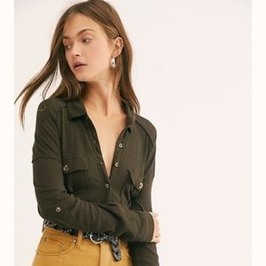 NWT Free People Penelope Button Down Hunter Green